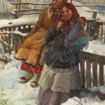 Winter scene with two girls. Russian artist Fedot Sychkov (1870 – 1900)