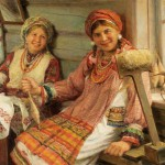 Spinning wheel. Russian artist Fedot Sychkov (1870 – 1900)
