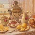 Samovar still life painting by Russian artist Irina Gayduk