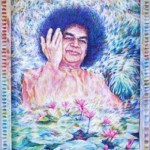 Sathya Sai Baba. oil on canvas. 2008. The work is in India. Esoteric mysticism in painting by Russian artist Sergey Puzanov