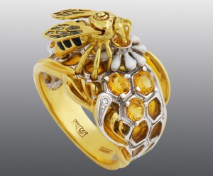 Stones Diamond, Brilliant, Citrine, enamel, gold 750