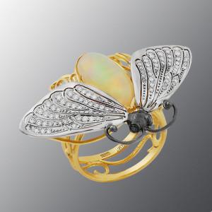 Stones diamond grit, Opal, Material Gold 750