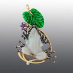Stones diamond grit, amethyst, Opal, enamel. Material Gold 585