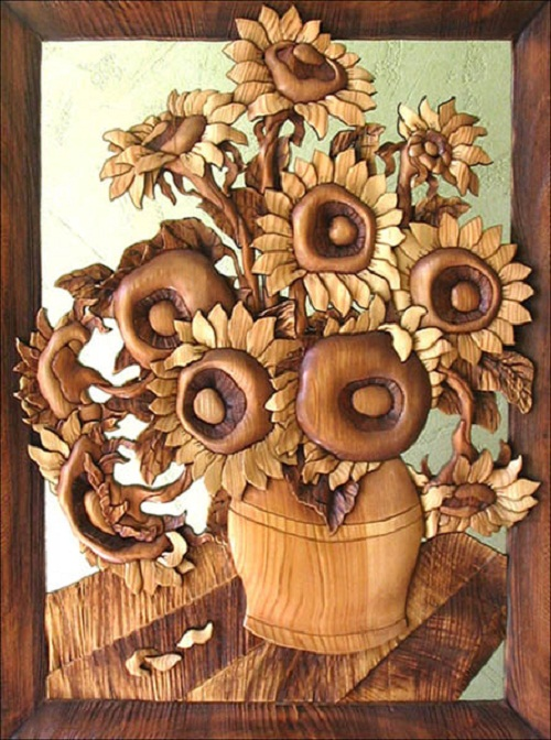 "Sunflowers. Second name – ""With love to Van Gogh art"", made from solid pine boards"
