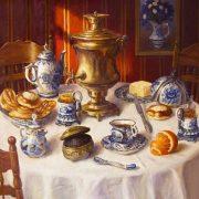 Tea table. Still life with Gzhel. 2016. Oil on canvas