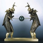 The Big Game. Surreal bronze sculpture by Ukrainian artist Oleg Pinchuk