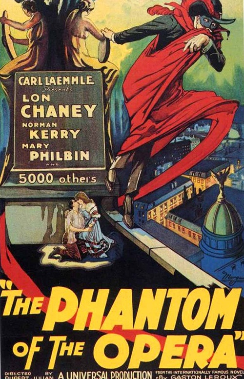 Norman Kerry, Mary Philbin, and Lon Chaney. Phantom of the opera poster