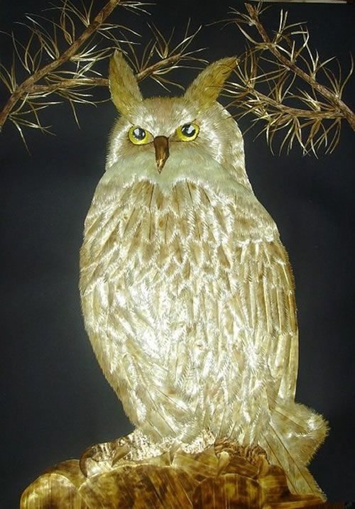The forest bird Owl Straw applications by Irina Parosova