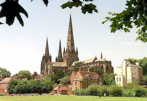 The monument is exactly one fifth the size of the original which is the only medieval English cathedral with three spires