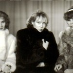 Wearing fur coats, winter photo of three best female friends, 1993