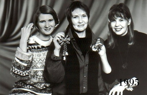 With bells in hands. Three Russian female friends, 199