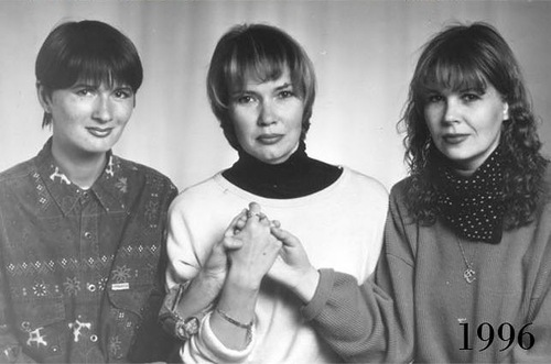 1996 photo of Three close female friends, this time joining hands