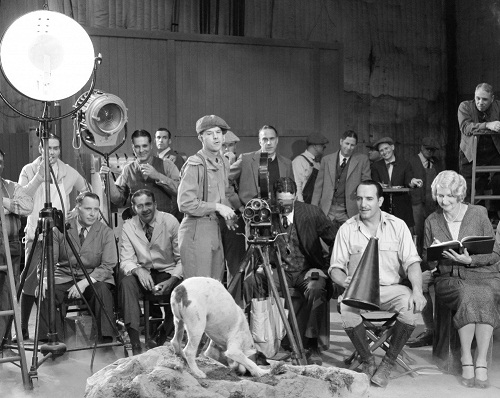 During filming. Uggie as Jack in the Artist
