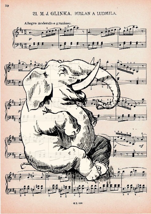 Ink Drawing on music sheet