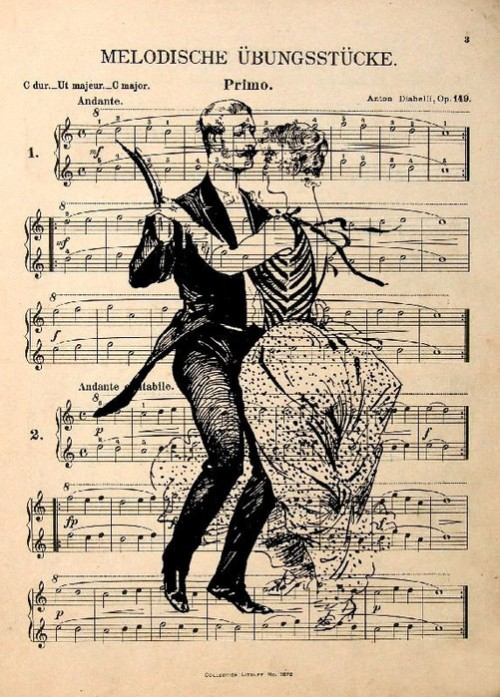 Vintage Ink Hand Drawing on Sheet music