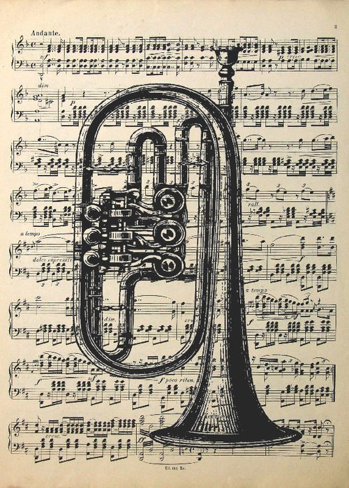 Brass instrument. Vintage Ink Hand Drawing