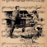 Two at the piano. Vintage Ink Hand Drawing