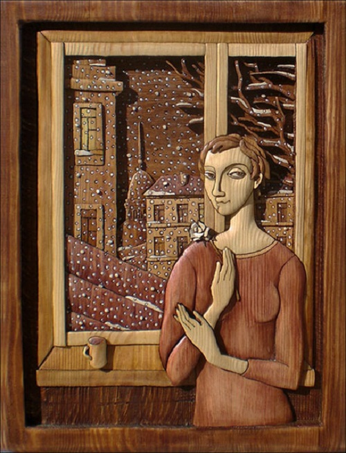 WINDOW (first snow). Decorative art by Anatoly Obelets