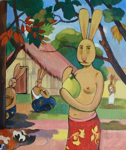 Woman Holding a Fruit by Paul Gauguin. Dina Kalinkina greeting classic painters