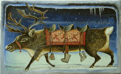 Deer, from the series 'Three heroes in the North'. Painting by Russian artist Andrei Andrianov