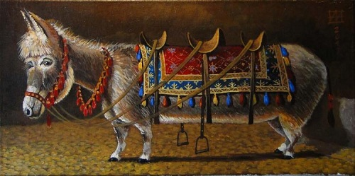 Donkey. Painting by Russian artist Andrei Andrianov