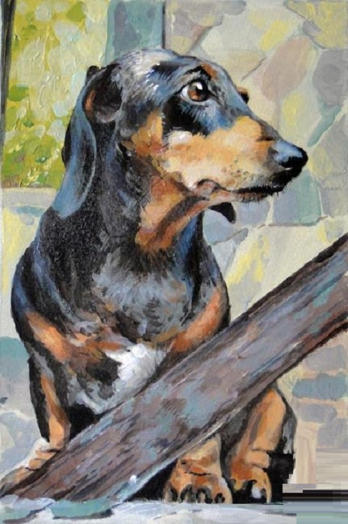 The dog (Dachshund) sitting on the porch. Painting by Russian artist Andrei Andrianov