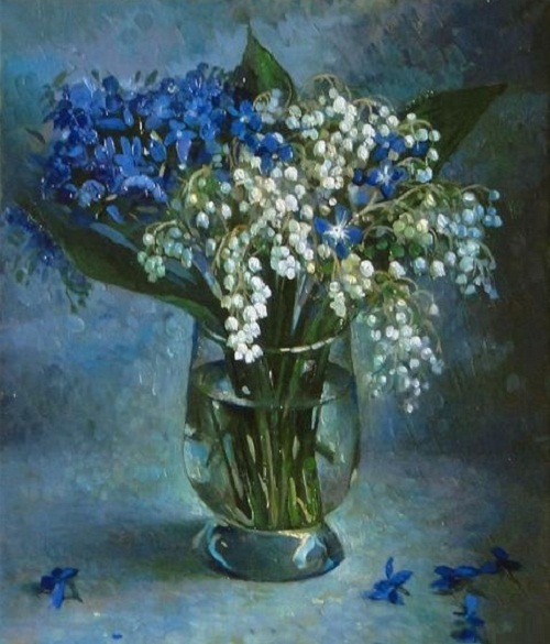 Beauituful bouquet of Blue wildflowers and Lilies of the valley. Painting by Russian artist Andrei Andrianov
