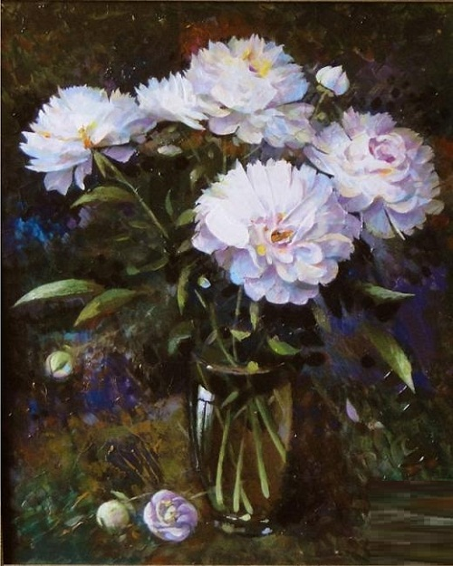 Peonies. Painting by Andrei Andrianov