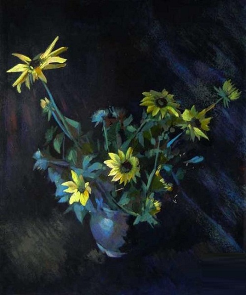 Yellow flowers. Painting by Andrei Andrianov