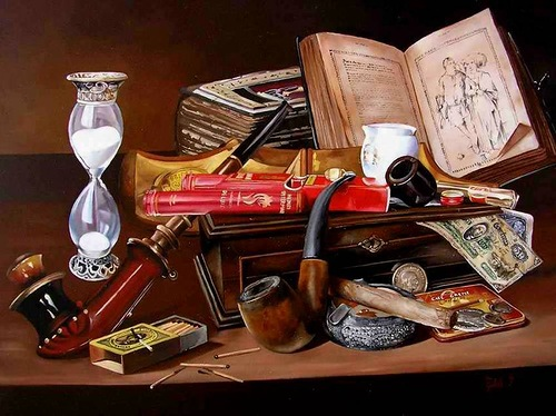 Vanitas still life painting by Hungarian self-taught artist Ferenc Tulok
