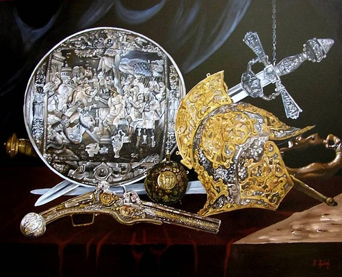 Warrior. Realistic still life paintings by Hungarian self-taught artist Ferenc Tulok