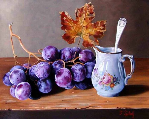 Grapes. Realistic still life paintings by Hungarian self-taught artist Ferenc Tulok