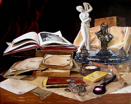 Antique books, vanitas still life painting by Hungarian self-taught artist Ferenc Tulok