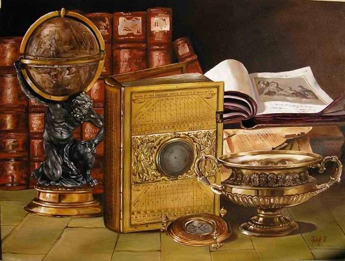 A globe, books, and a vase. Realistic still life paintings by Hungarian self-taught artist Ferenc Tulok