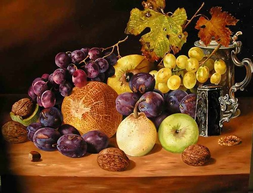 Melon, pear, apple, plums and grapes, still life