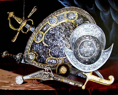 Helmet, shields and swords. Realistic still life paintings by Hungarian self-taught artist Ferenc Tulok