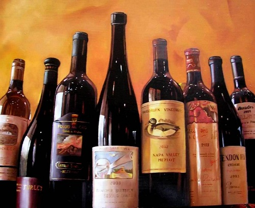 Bottles of wine. Realistic still life paintings by Hungarian self-taught artist Ferenc Tulok