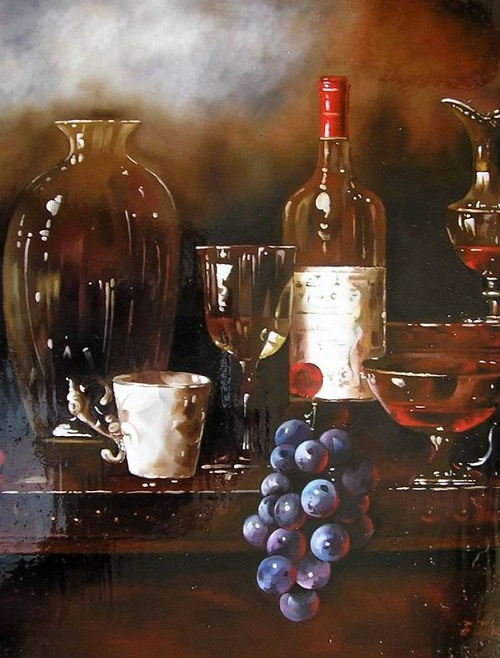 A bunch of grapes. Realistic still life paintings by Hungarian self-taught artist Ferenc Tulok