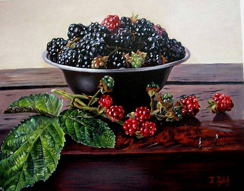 A bowl of raspberries. Realistic still life paintings by Hungarian self-taught artist Ferenc Tulok