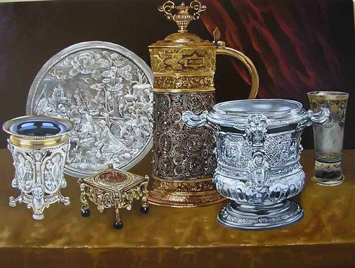 Crystal and silver vases. Realistic still life paintings by Hungarian self-taught artist Ferenc Tulok
