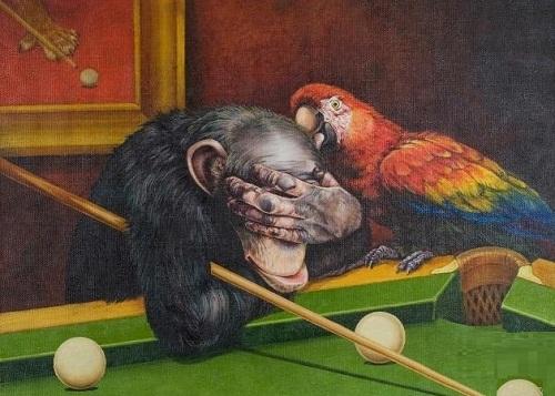 Playing billiard animals by artist Georgiy Volodko