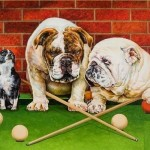 Bulldogs are too serious playing billiard. Painting by Russian artist Georgiy Volodko