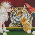 A lazy tiger is going to play billiard. Painting by Russian artist Georgiy Volodko