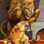 An argument. A tiger and a lion. Who will win in this billiard game? Painting by Russian artist Georgiy Volodko