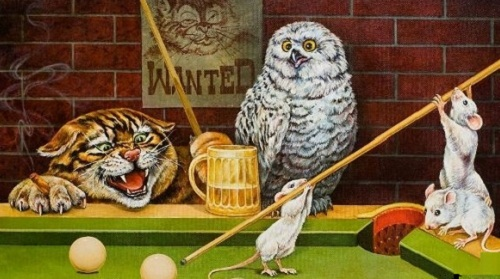 Little mice trying to play billiard. Painting by artist Georgiy Volodko