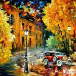 Night street in Autumn. Painting by Leonid Afremov