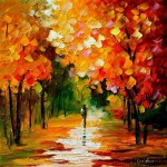 Walking in the park. Autumn in painting by Leonid Afremov