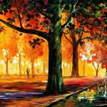 Red Autumn. Painting by Leonid Afremov