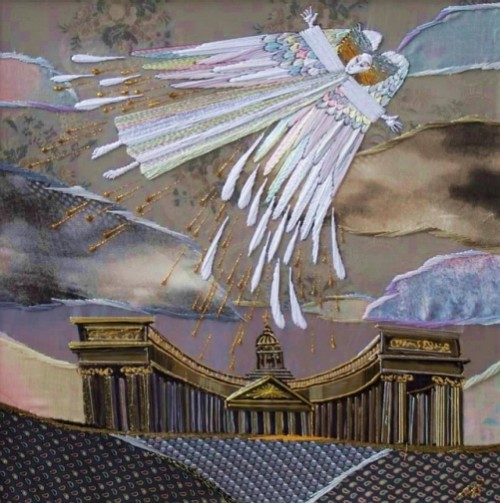 Angel of St. Petersburg. Embroidery, painting and application by Russian artist Marina Printseva