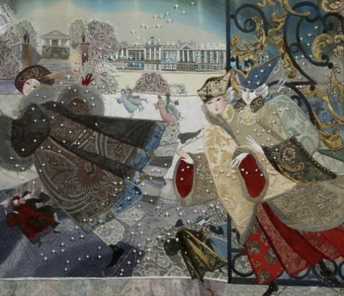 Petersburg of 19th century. Embroidery, painting and application by Russian artist Marina Printseva